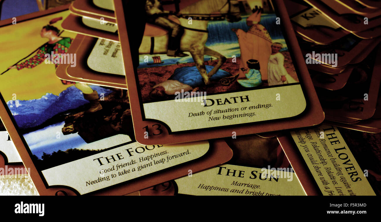 tarot,cards,death,fortune teller, reading,psychic - Stock Image