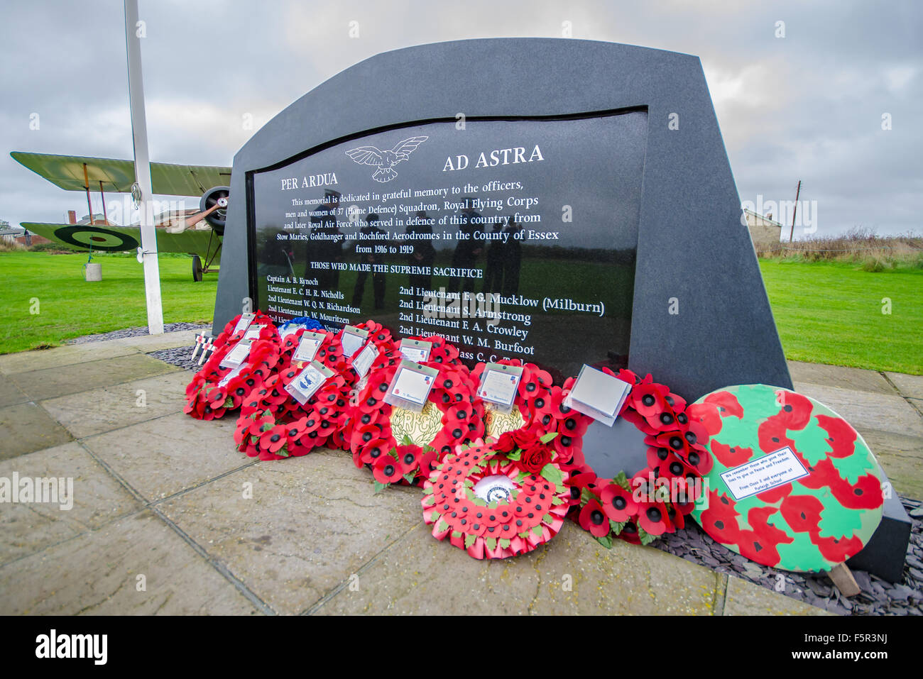 Remembrance Sunday service and wreath laying ceremony took place at Stow Maries Aerodrome, Essex - Stock Image
