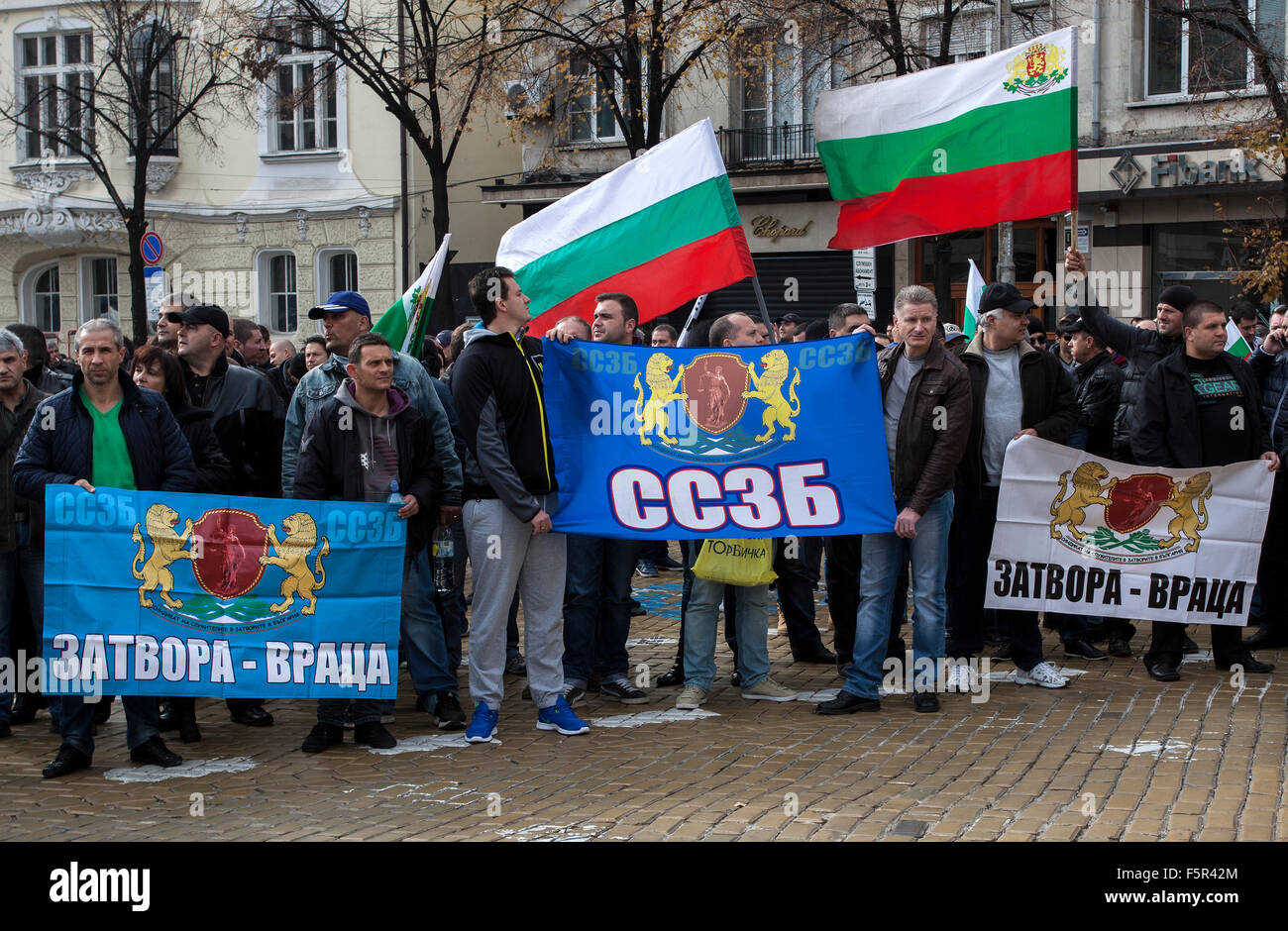 Sofia, Bulgaria. 8th November, 2015. Protest of employees in Bulgaria's security sector. It was be held in front - Stock Image