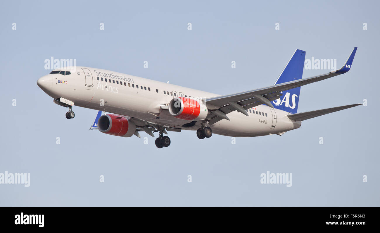 SAS Scandinavian Airlines Boeing 737 LN-RGI coming into land at London Heathrow Airport LHR - Stock Image