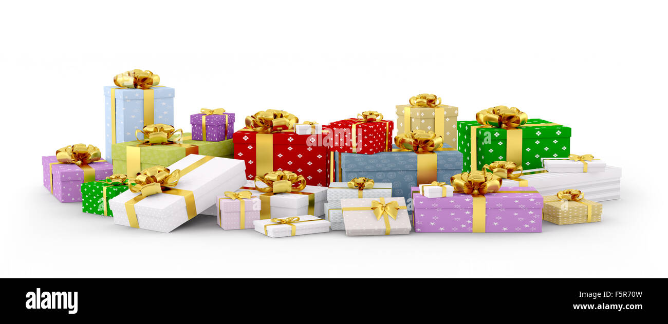 Colorful christmas gift boxes, presents with bows and ribbons isolated 3d rendering - Stock Image