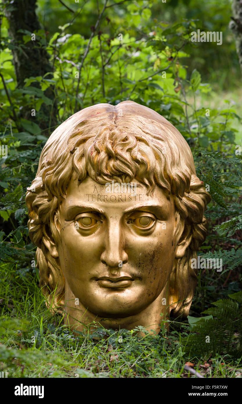 Little Sparta, Scotland. The garden created by the artist Ian Hamilton Finlay in the Pentland Hills. Bust of Apollo - Stock Image
