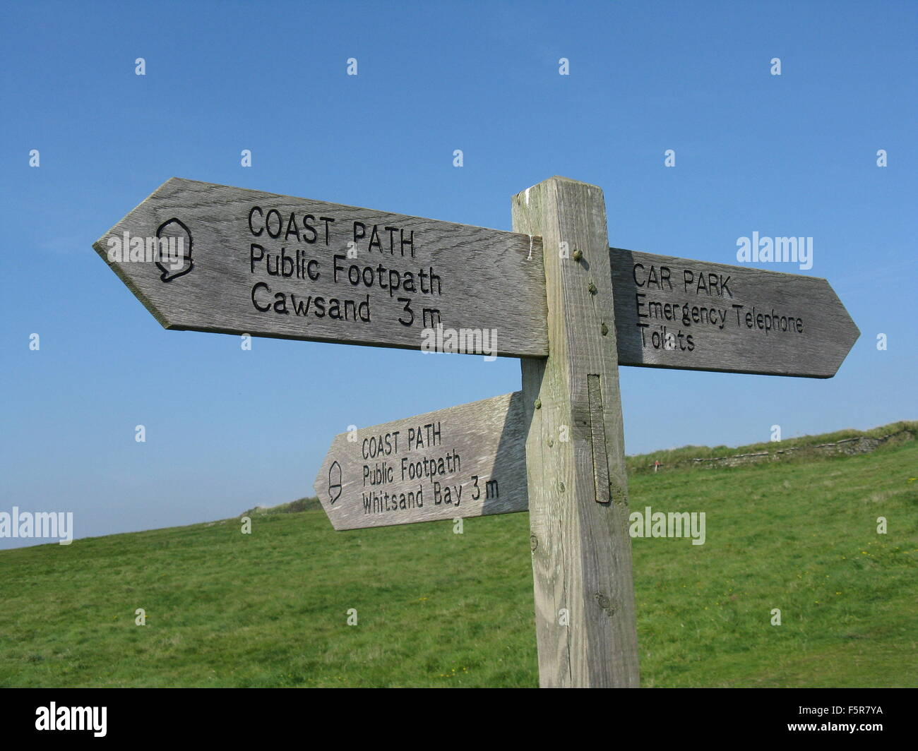 South West Coast Path Sign at Rame Head - Stock Image