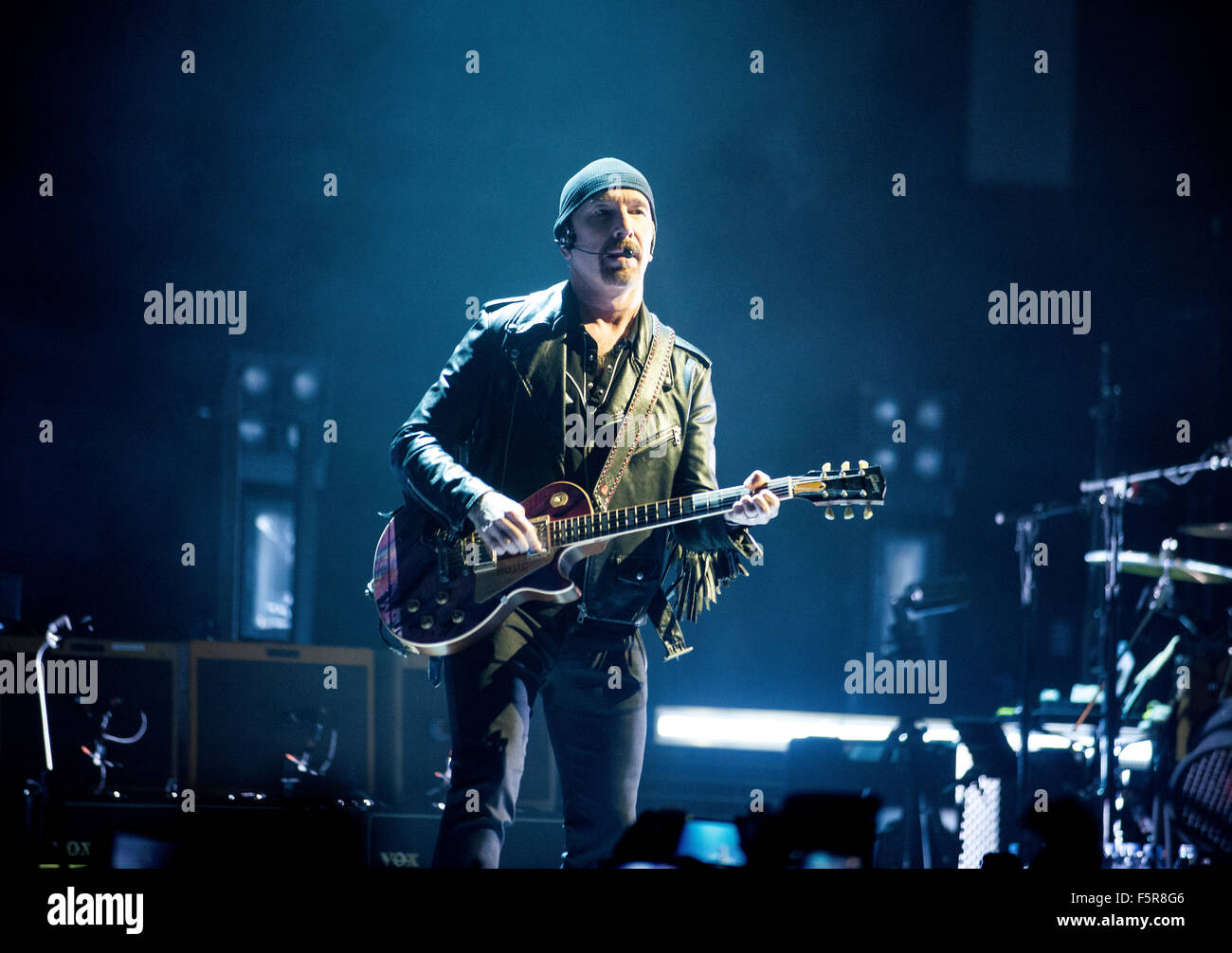 The Edge of U2 performs at the SSE Hydro as part of their iNNOCENCE + eXPERIENCE tour on November 6, 2015 in Glasgow, - Stock Image
