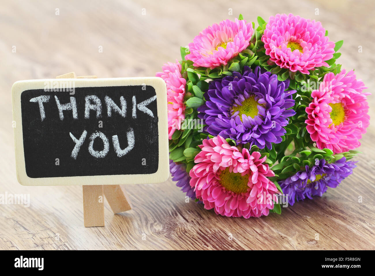 Bouquet of flowers thank you note stock photos bouquet of flowers thank you written on little blackboard with colorful aster flowers bouquet stock image izmirmasajfo