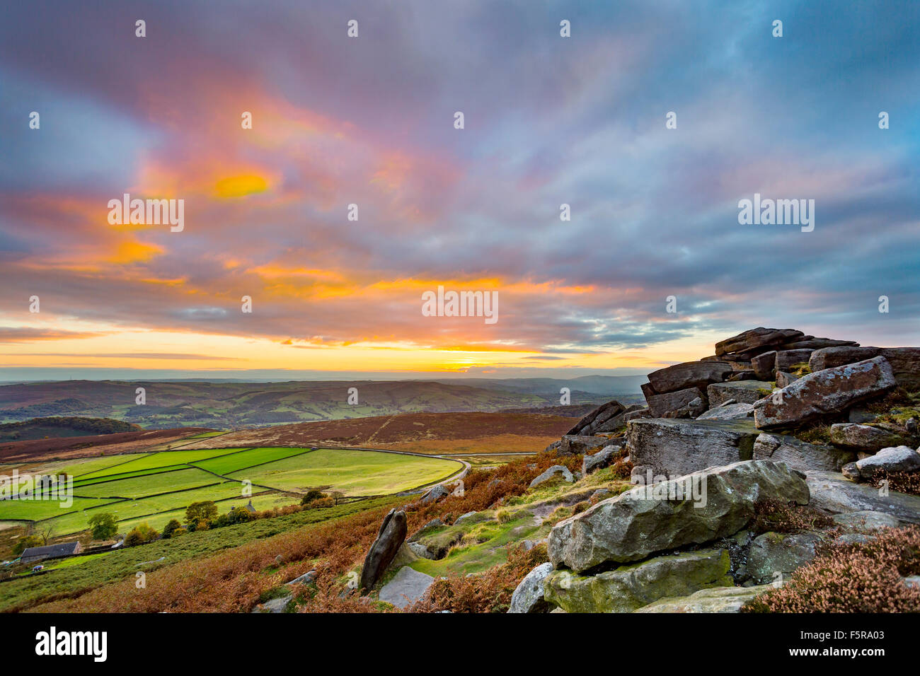 Sunset from Stanage Edge, in the Peak District National Park, Derbyshire, England, UK - Stock Image