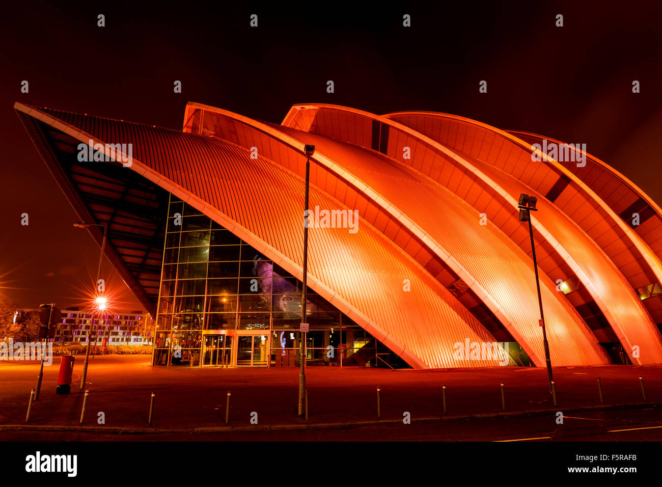 GLASGOW, SCOTLAND. OCTOBER 27 2015 : The Clyde Auditorium (Armadillo) Concert Hall on banks of River Clyde, Glasgow, - Stock Image