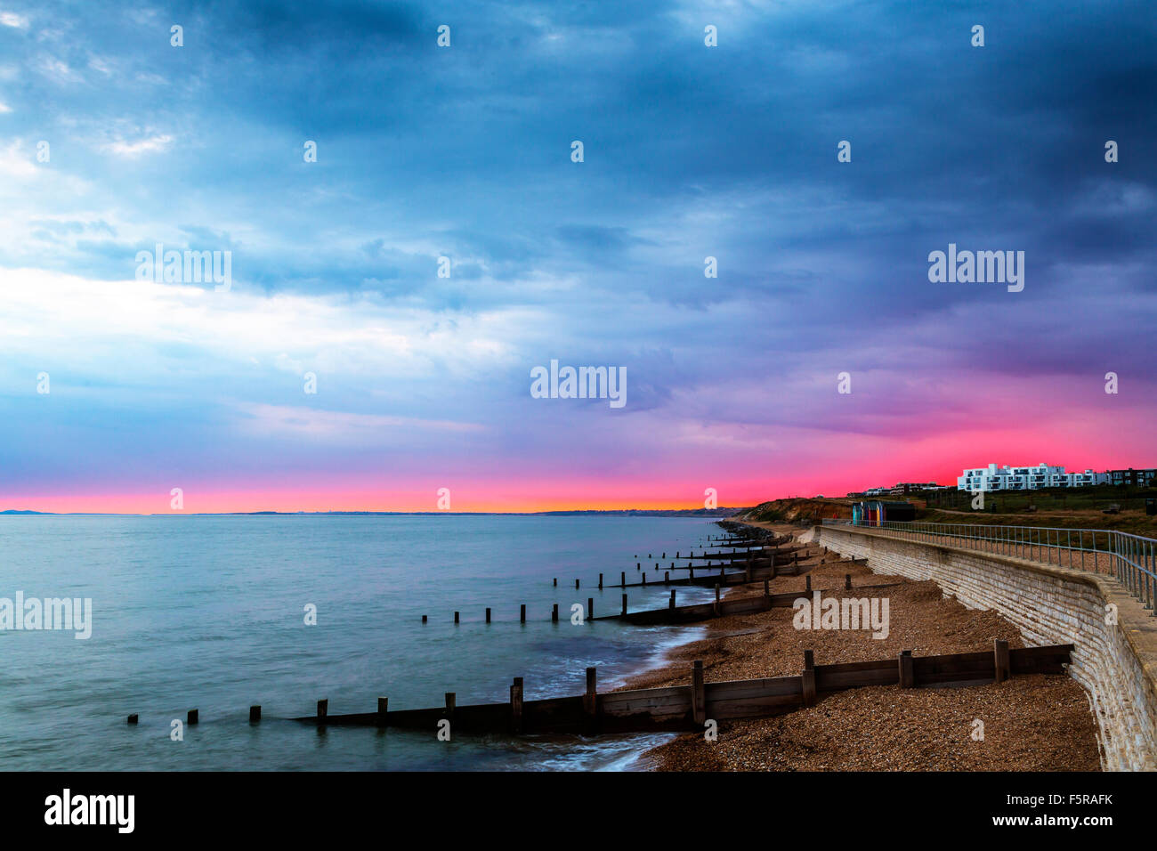 Sunset from Milford on Sea, Hampshire, England, UK - Stock Image
