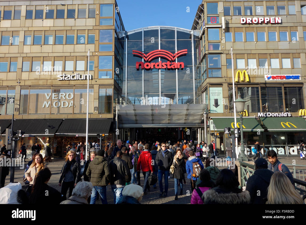 People crowds in front of main Entrance to Nordstan, the largest shopping centre in Gothenburg, Sweden Stock Photo