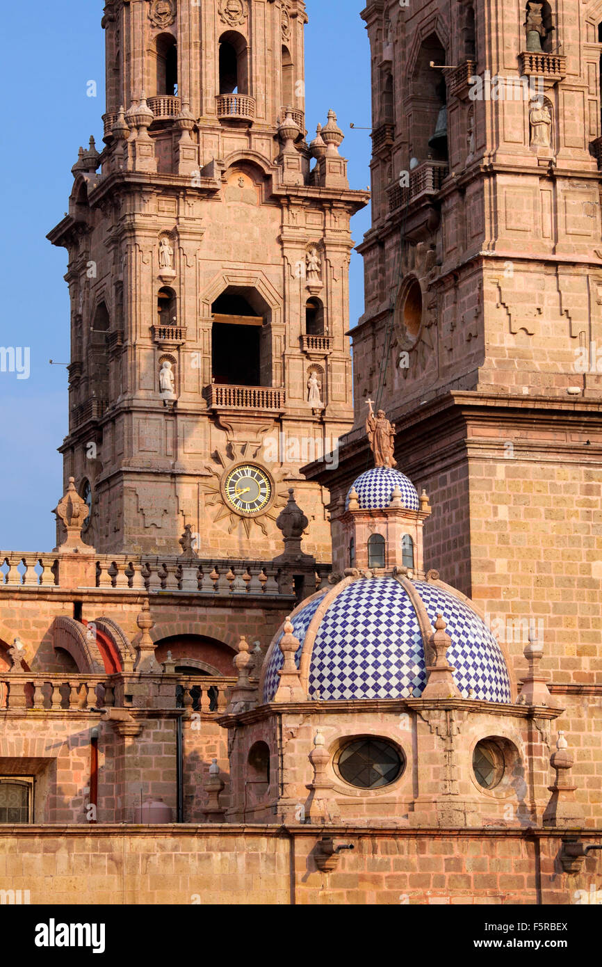 Detail of the Morelia, Mexico cathedral. - Stock Image