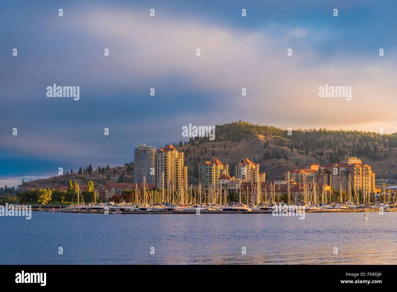 Kelowna Yacht Club and skyline, Kelowna, British Columbia, Canada - Stock Image