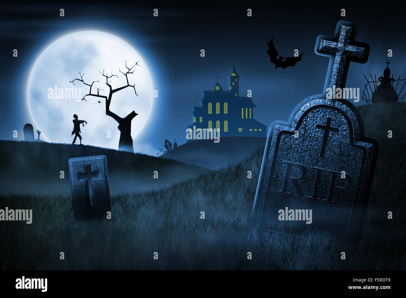 Halloween Spooky Pictures.Spooky Halloween Night Foggy Cemetery And Haunted House On