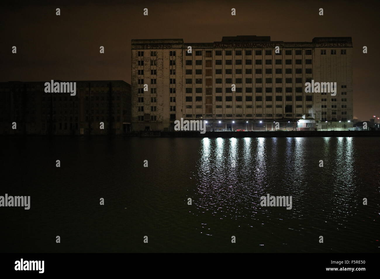 Millenium Mills at Night - Stock Image