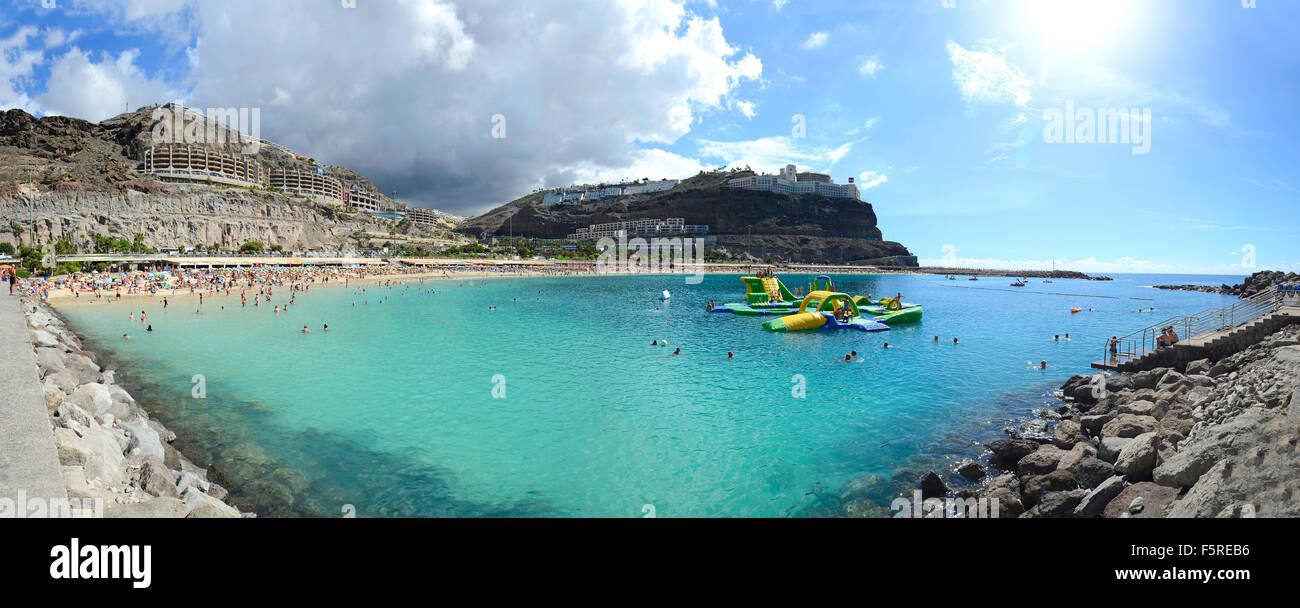 AMADORES BEACH, SPAIN - October 28; Panorama of Amadores beach, Gran Canaria, Spain. Popular travel location near - Stock Image