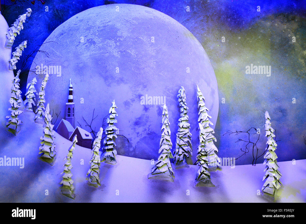 Background of full moon rising over fantasy landscape of snow and forest trees at night. - Stock Image