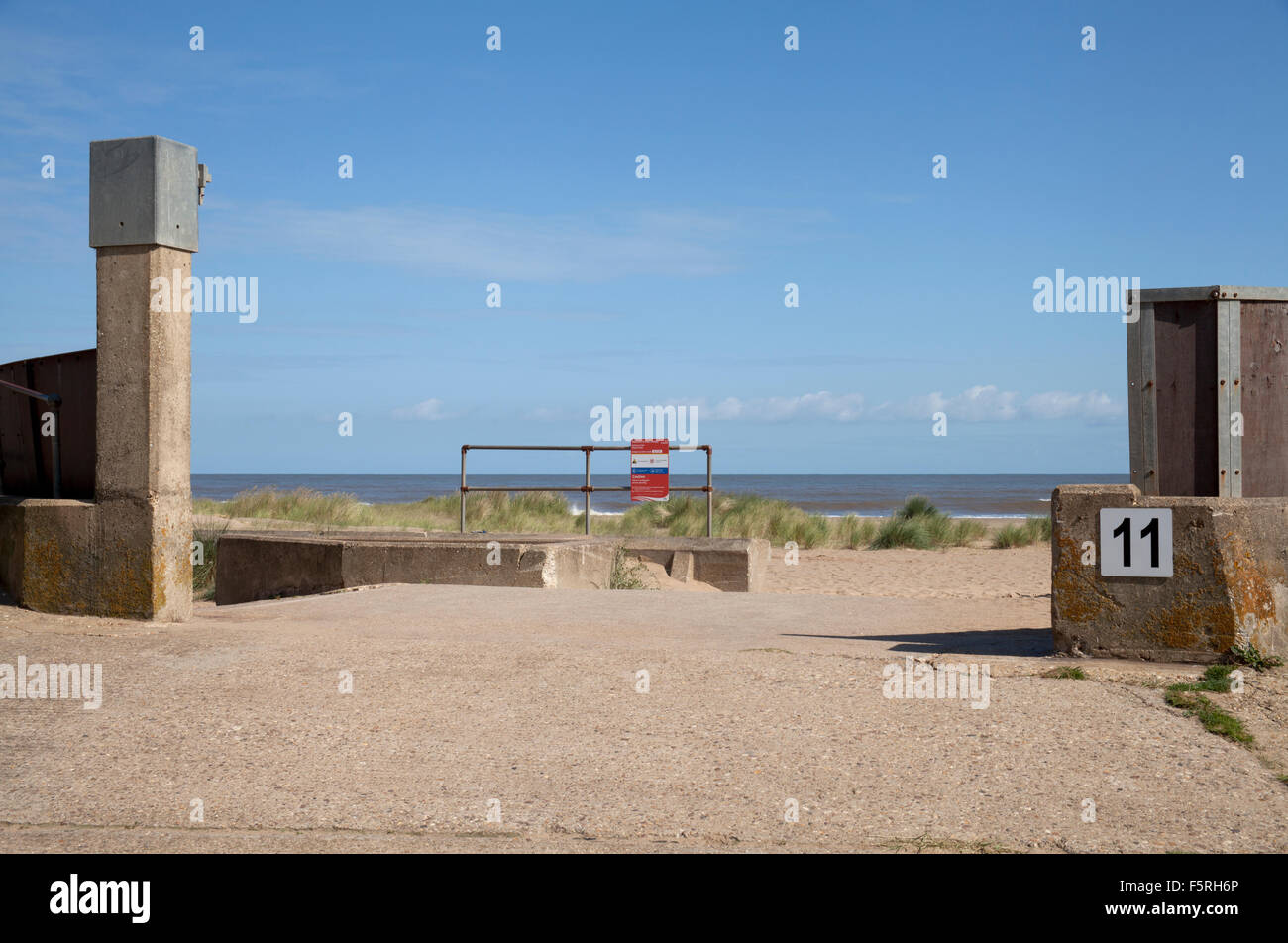 Sea defence gate at Sutton on Sea, Lincolnshire, England UK - Stock Image