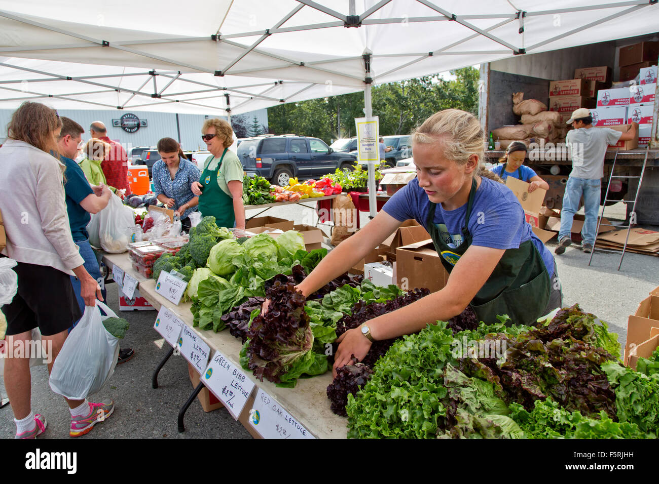 South Anchorage Farmers Market, shoppers. - Stock Image