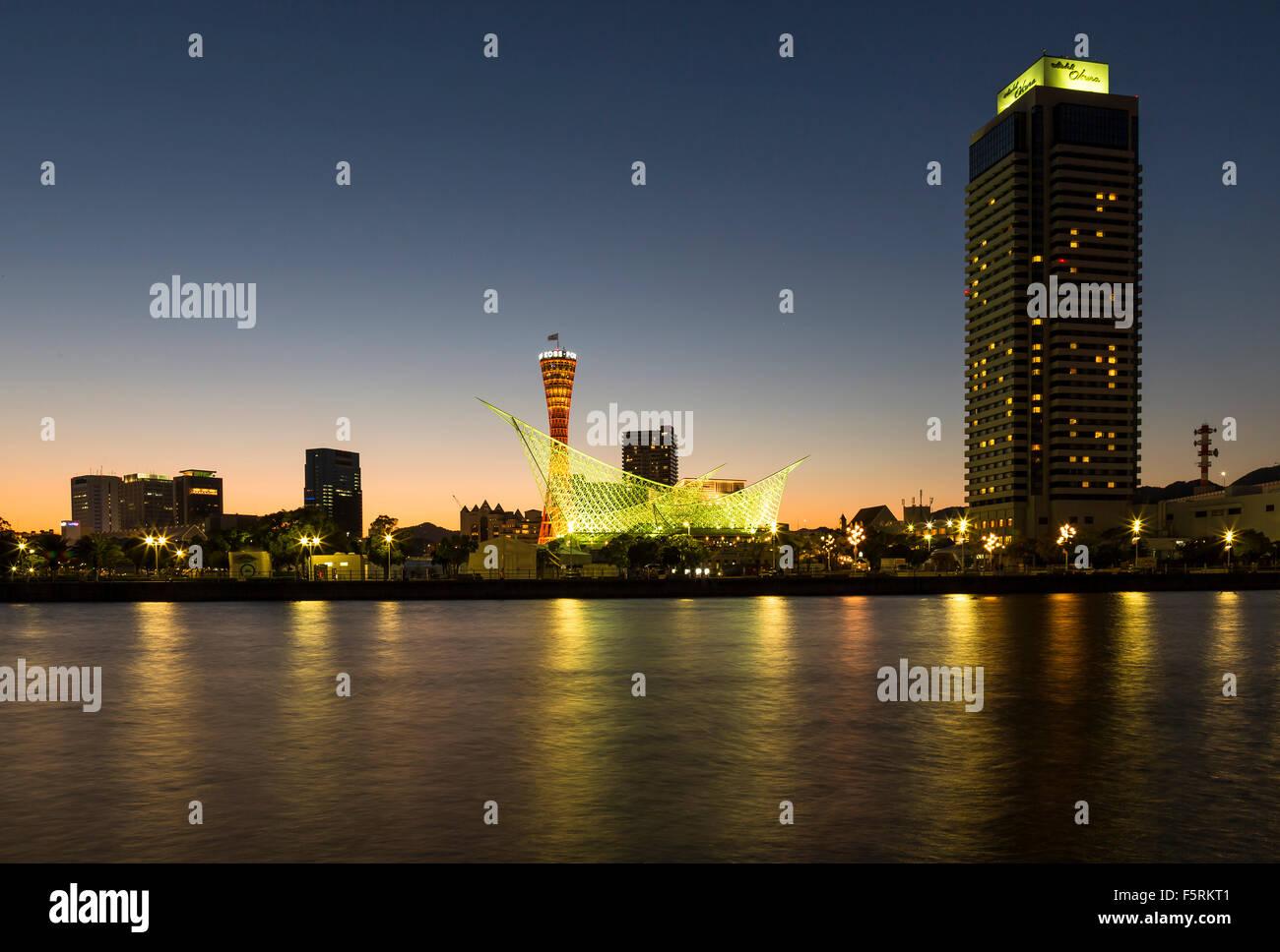 Kobe  Harbor Sunset - Stock Image