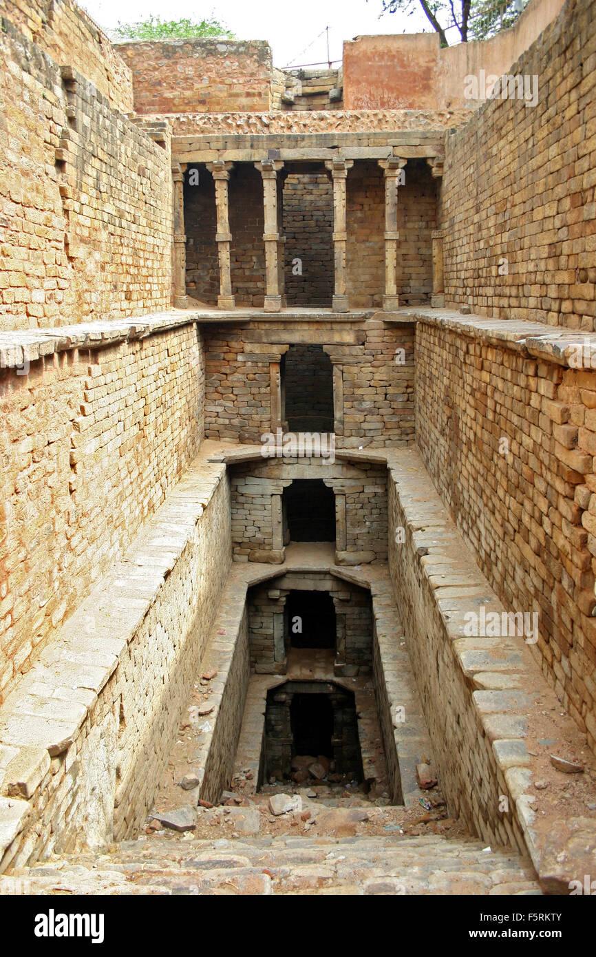 Delhi, India - June 2, 2004: Agrasen ki Baoli is also known as Agar Sain ki Baoli or Ugrasen ki Baoli is a protected - Stock Image