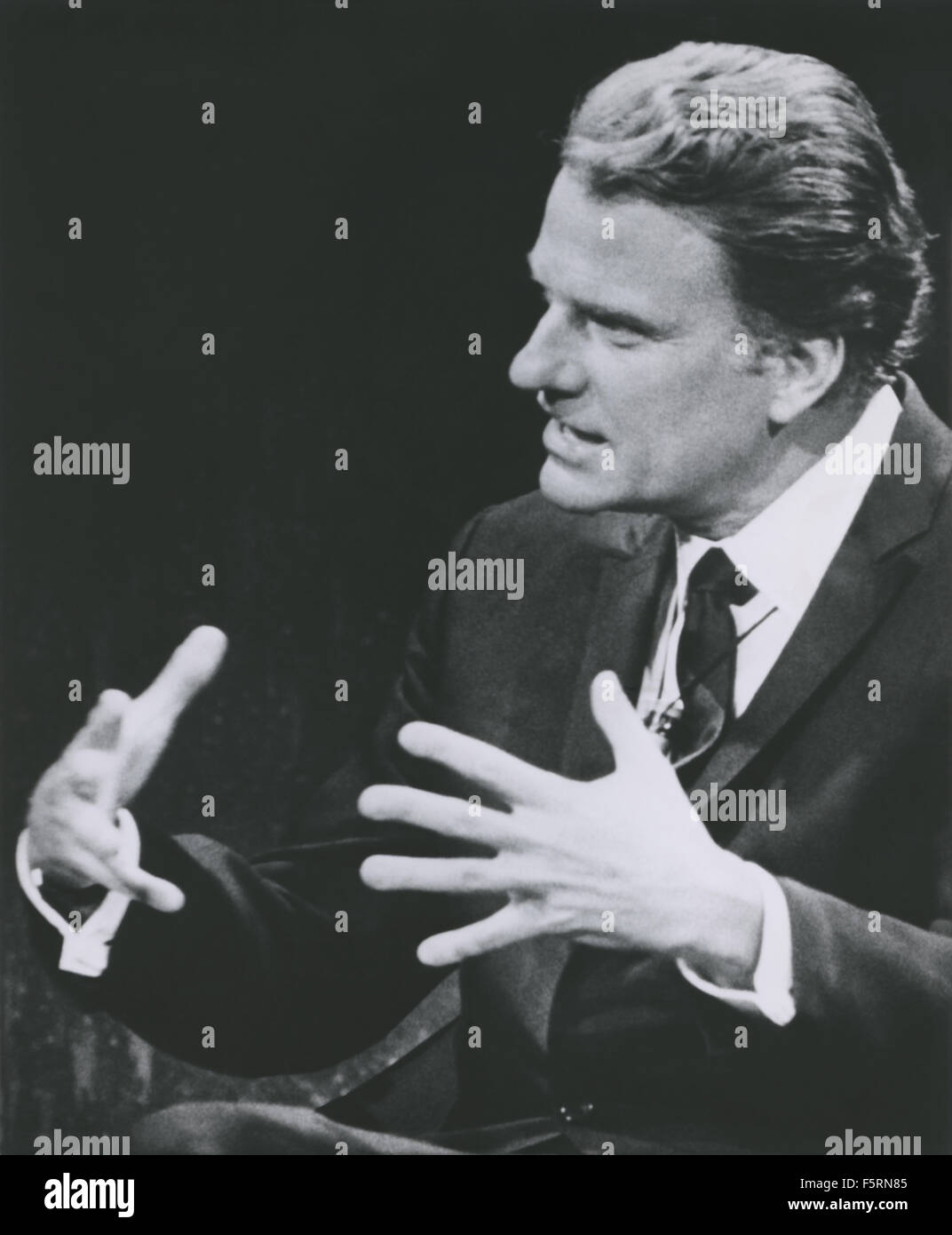 Billy Graham, international Christian evangelist, speaking on ABC-TV's 'Issues and Answers' program - Stock Image