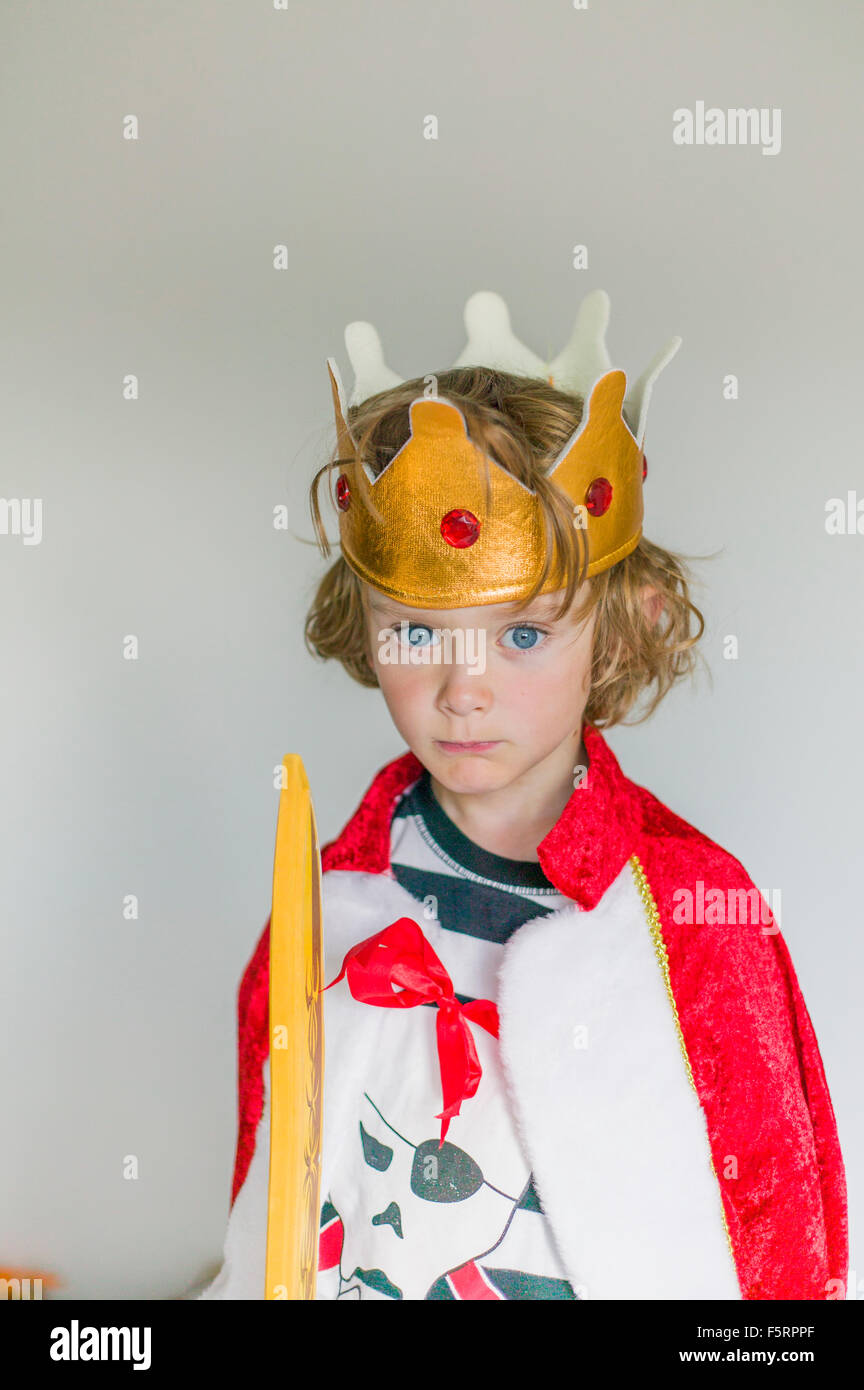 Sweden, Portrait of boy (6-7) in king's costume - Stock Image