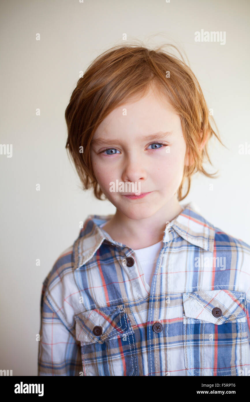 Sweden, Vastergotland, Lerum, Portrait of boy (7-8) - Stock Image
