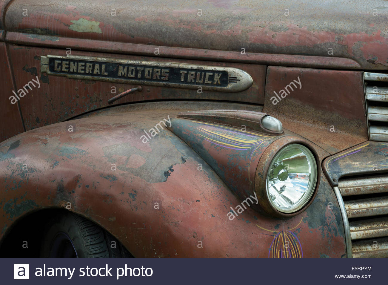 Close Up Of A Gmc General Motors Company Badge Wing And Hood Of A
