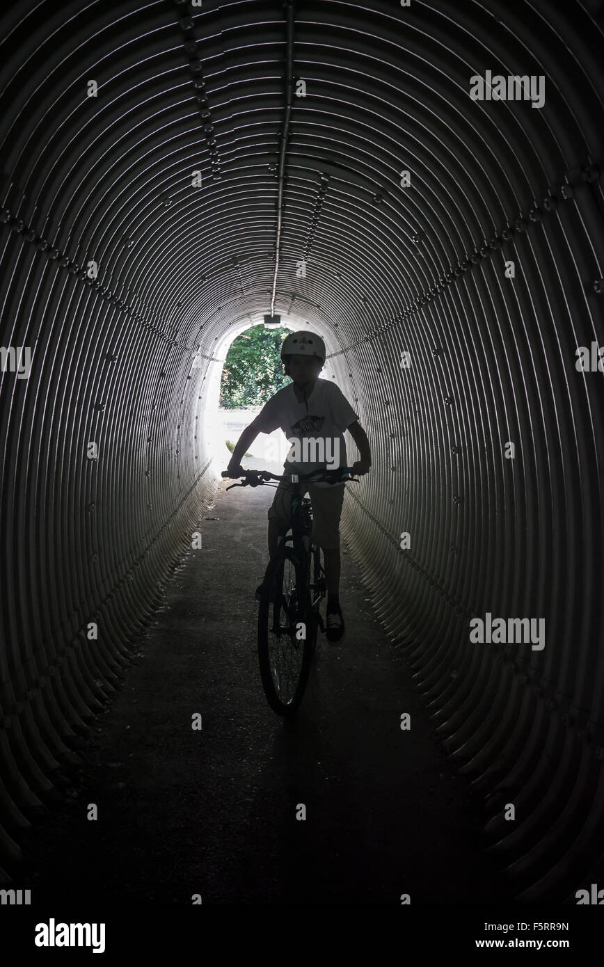 Sweden, Vastergotland, Lerum, Portrait of boy (10-11) on bicycle - Stock Image