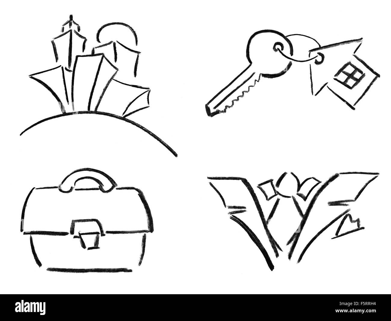 Pencil sketches of city, briefcase, house key and formal wear. Isolated on white - Stock Image