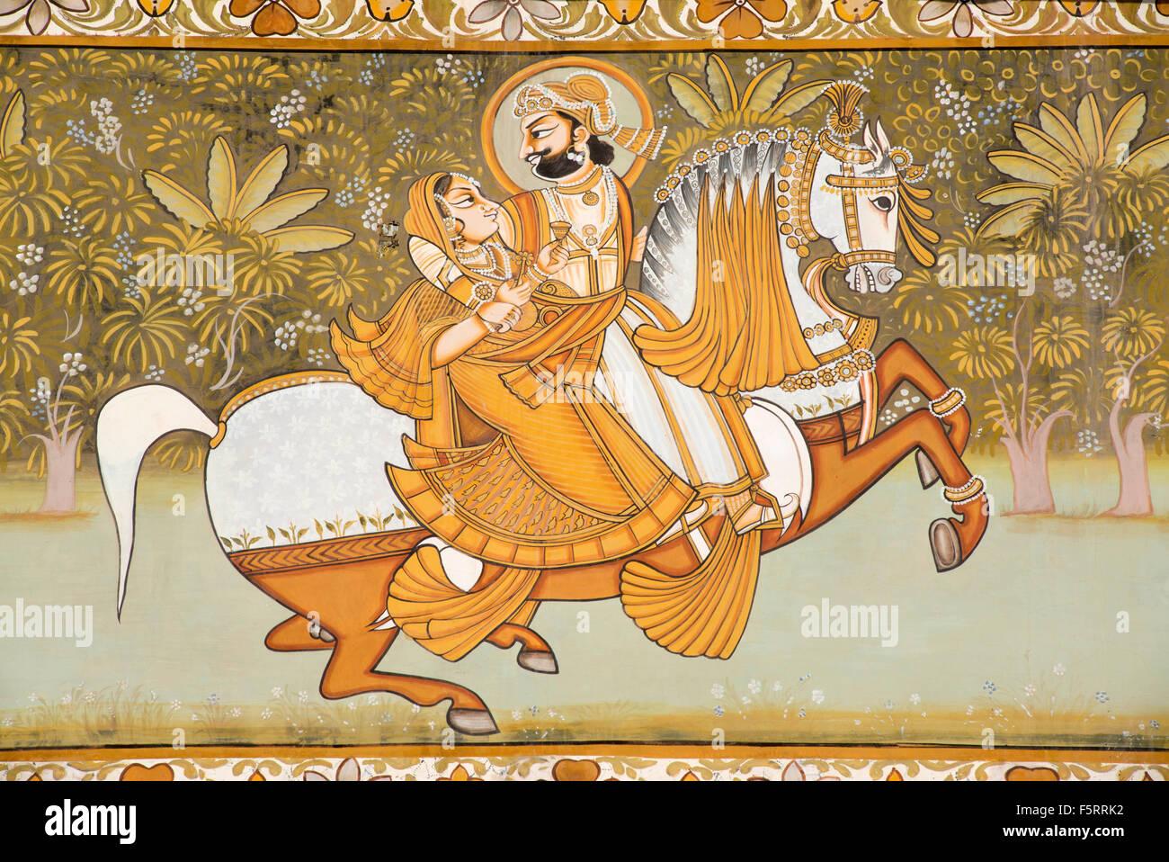 King with consort riding on horse, mehrangarh fort, jodhpur, rajasthan, india, asia - Stock Image
