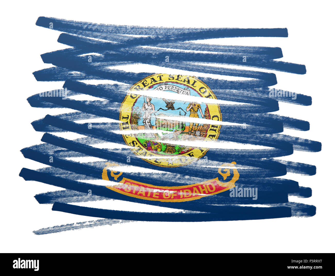 Flag illustration made with pen - Idaho - Stock Image