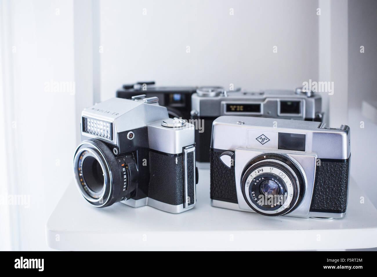 Sweden, Vintage analogue cameras on shelf - Stock Image