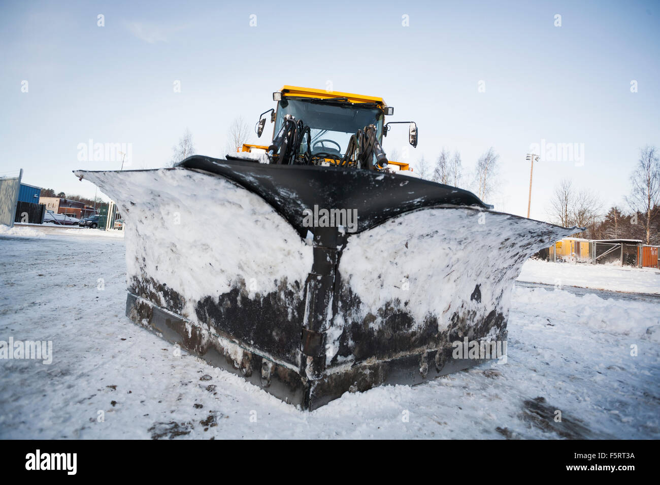 Sweden, Sodermanland, Stockholms Lan, Haninge, View of snowplow - Stock Image
