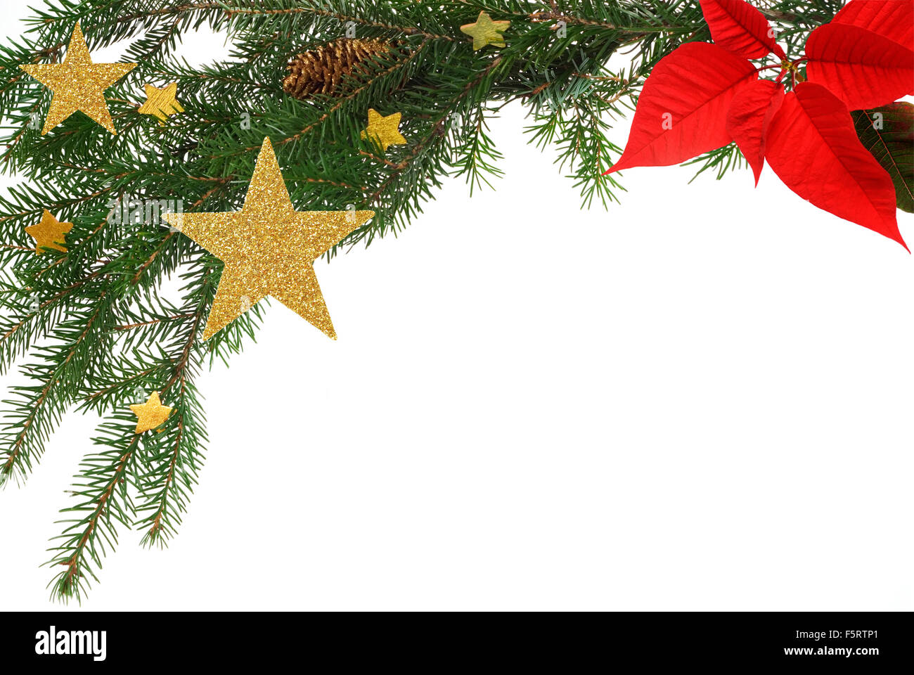 Chistmas greeting card background, bordered with fir twigs, stars and poinsettia - Stock Image