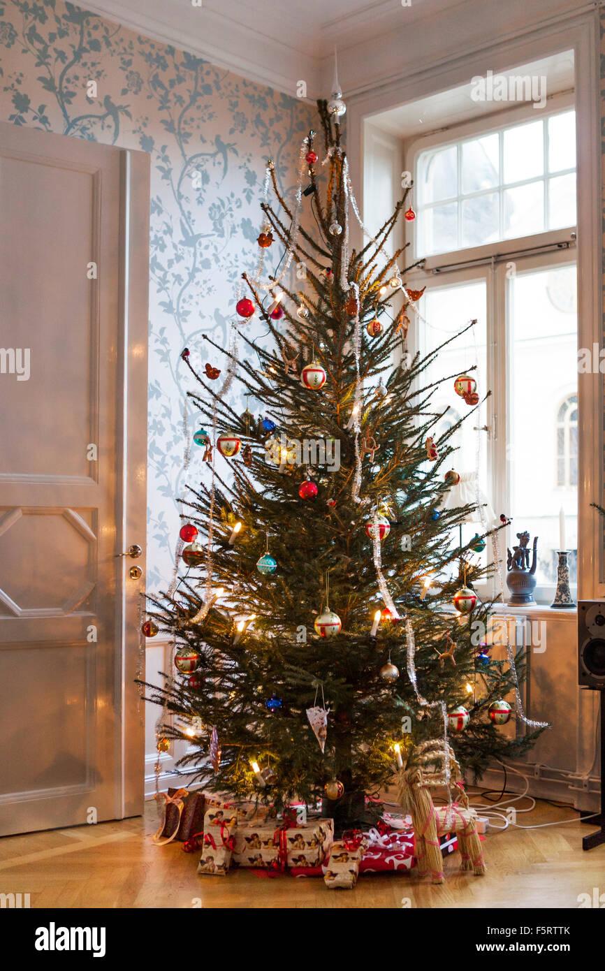 sweden christmas tree and presents stock image - Swedish Christmas Tree