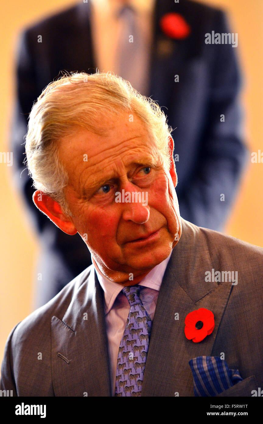 Auckland, New Zealand - November 8, 2015 - Prince Charles, Prince of Wales, visits Nga Rangatahi Toa on November - Stock Image