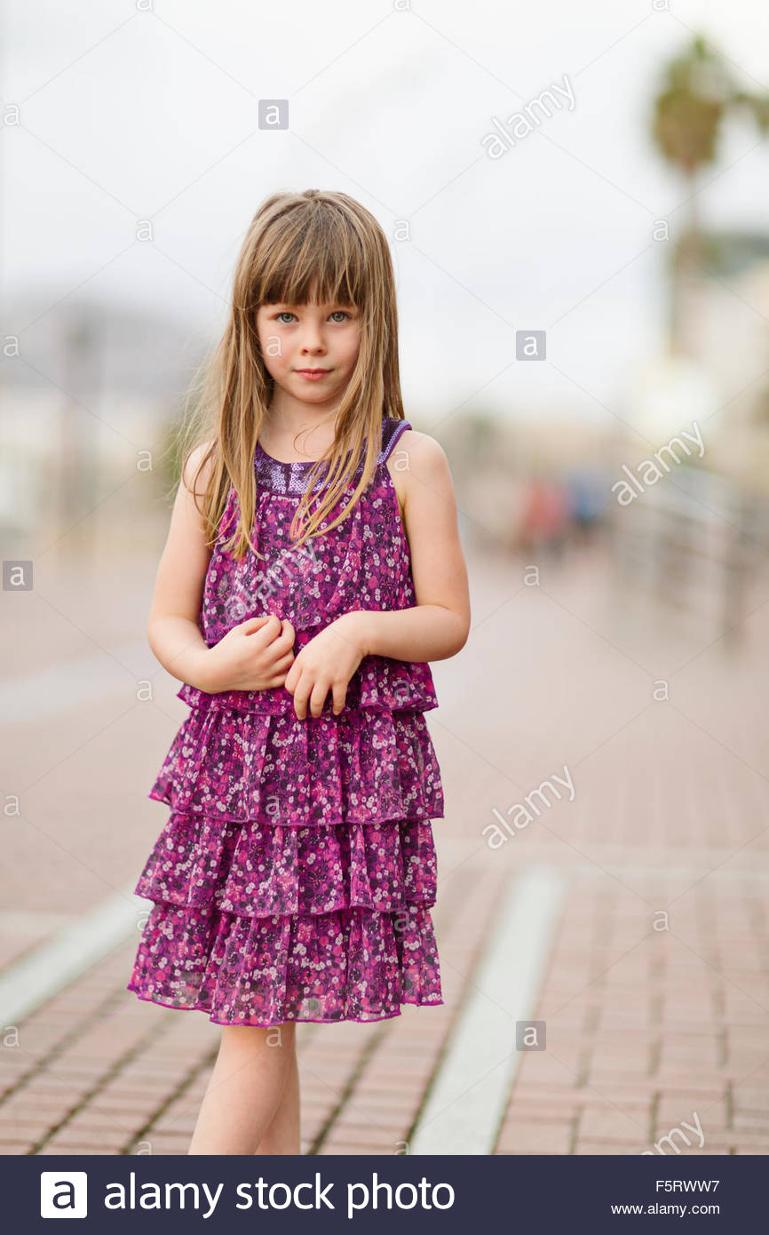 Spain, Las Palmas, Portrait of little girl (4-5) - Stock Image