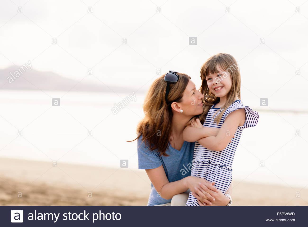 Spain, Las Palmas, Mother and daughter (4-5) - Stock Image