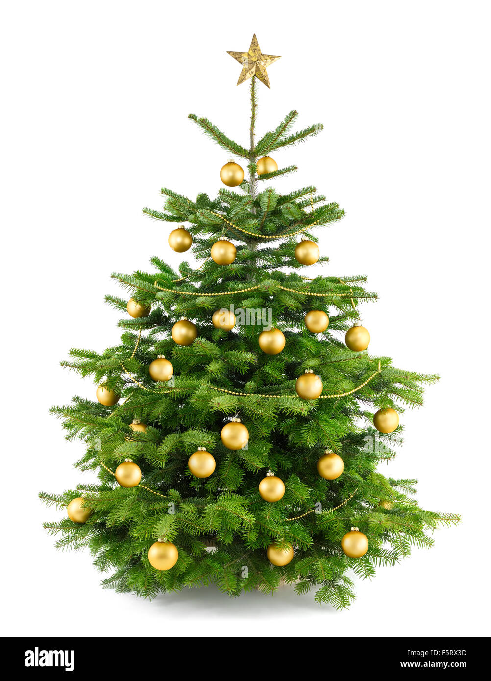 Elegant studio shot of a Christmas tree with gold ornaments, isolated on white - Stock Image