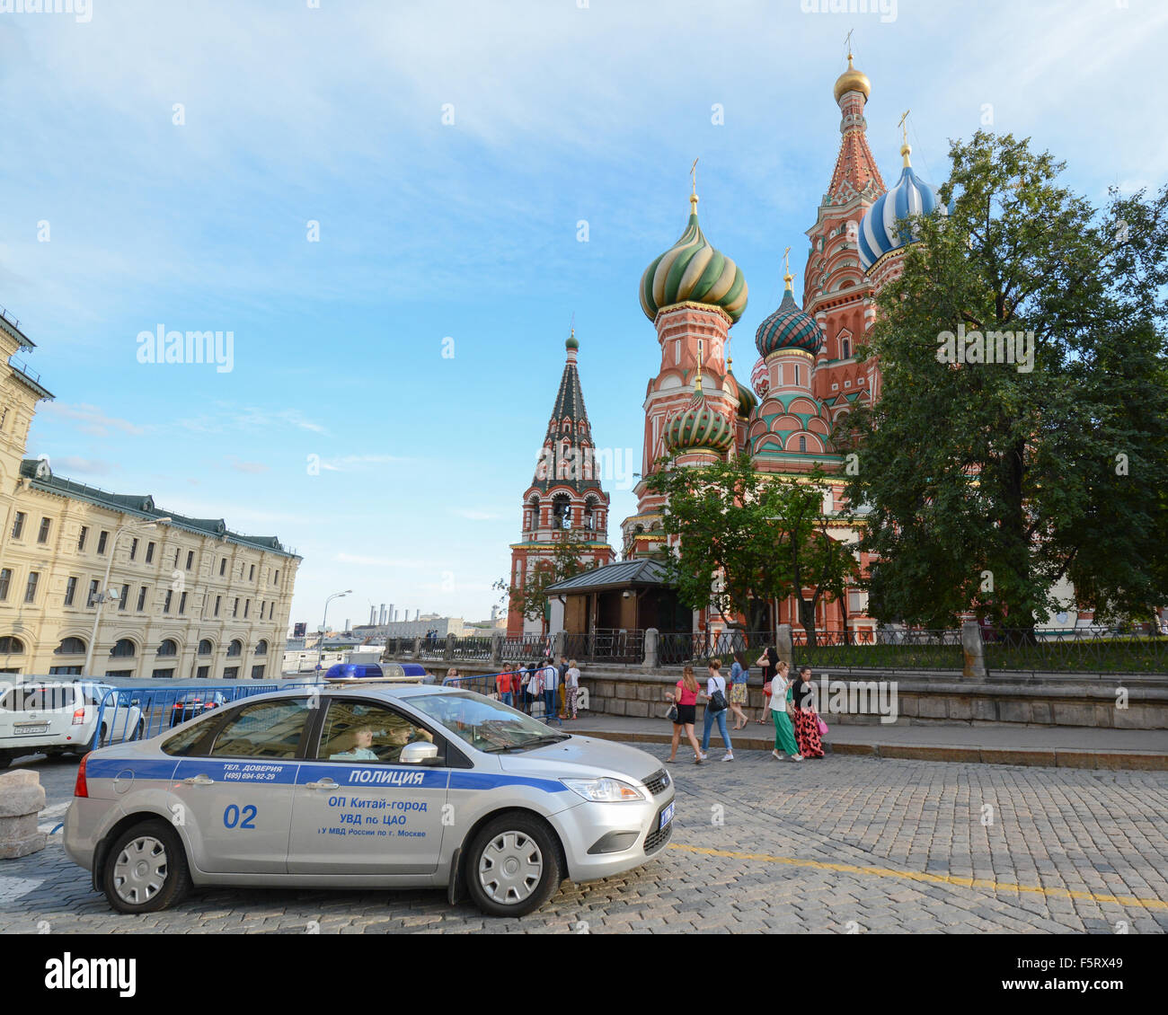Moscow police car parked by St Basil's Cathedral, Moscow, Russia Stock Photo