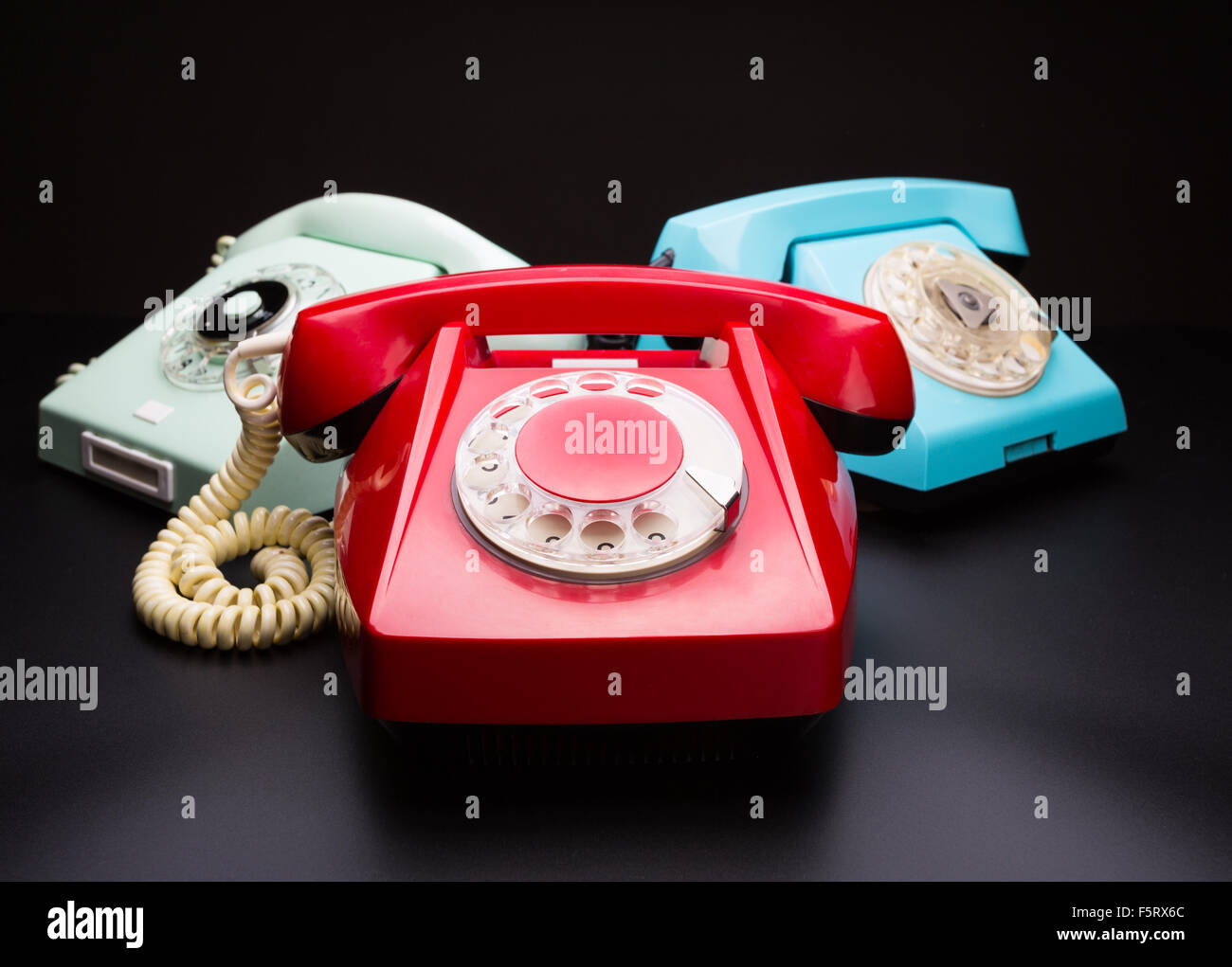 Three old telephones. Wide angle view - Stock Image
