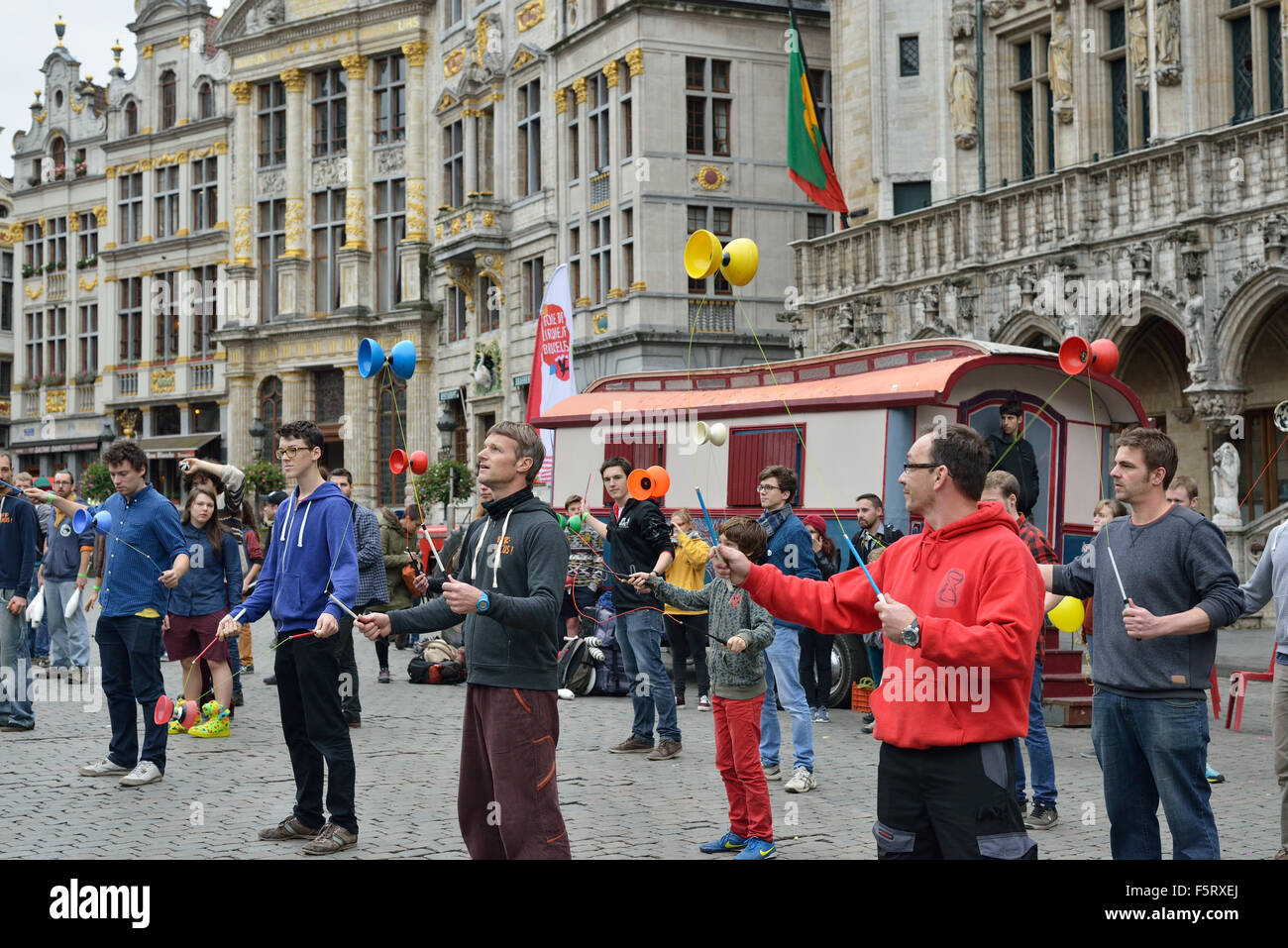 Students And Amateurs Of Cirque Participate In Performance And Presentation Of School Of Cirque On Grand Place In Brussels On Sunday 8 November