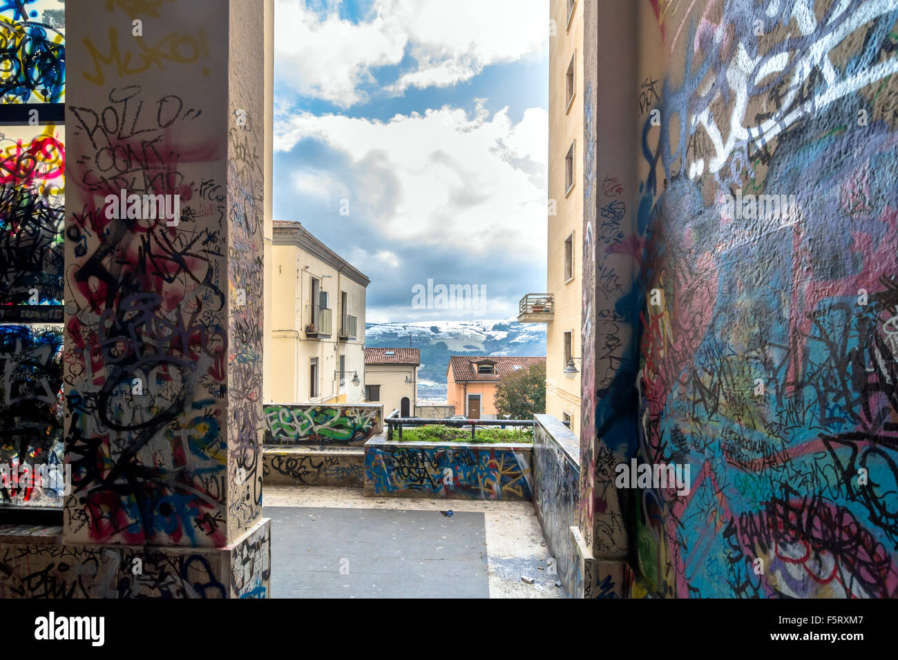 vandalized  urban wall with  tags and graffiti in Potenza, Italy - Stock Image