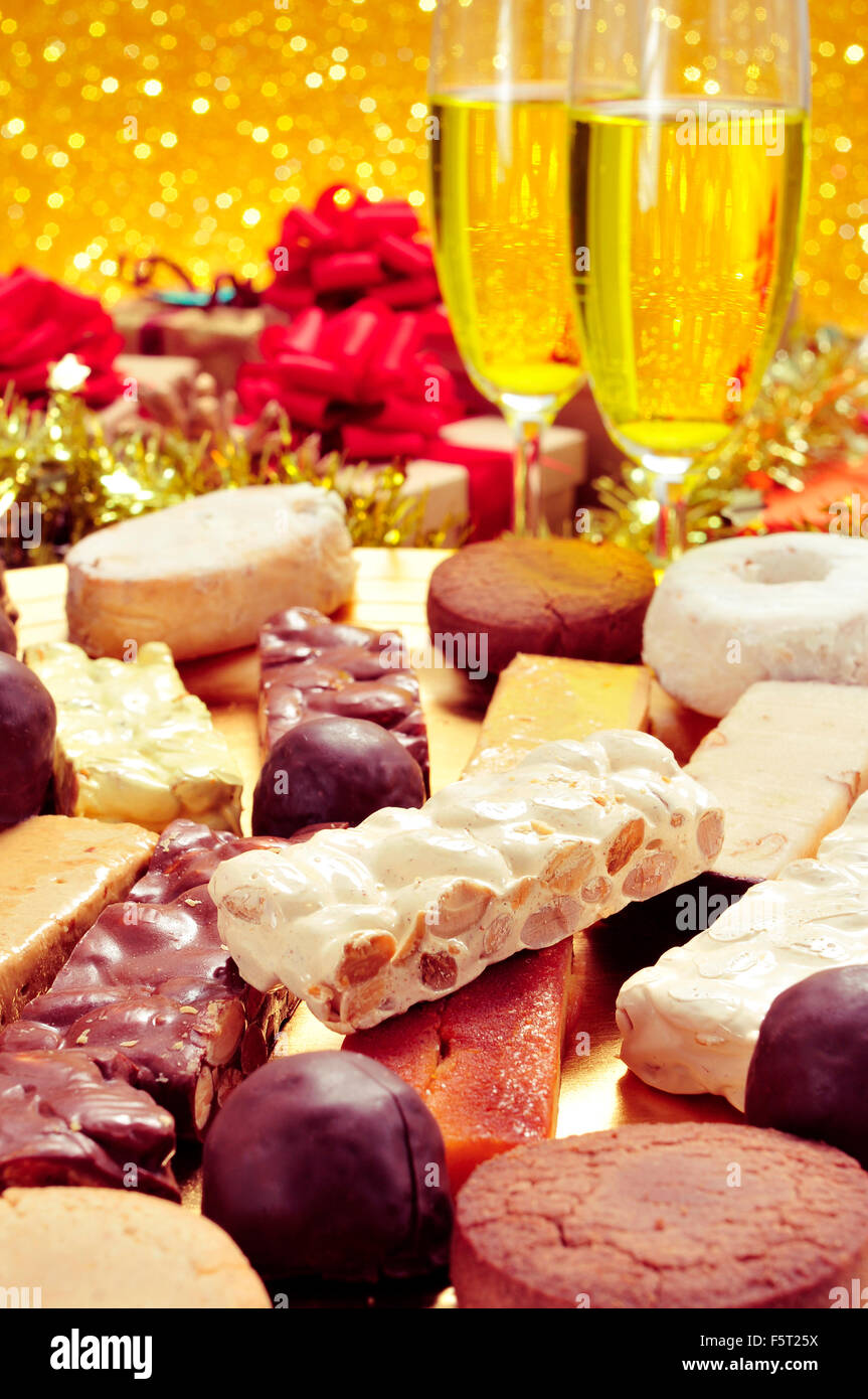 a tray with different turron mantecados and polvorones typical christmas sweets in spain