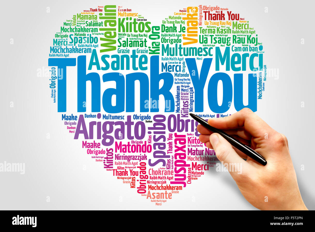 Thank You in many languages - Stock Image