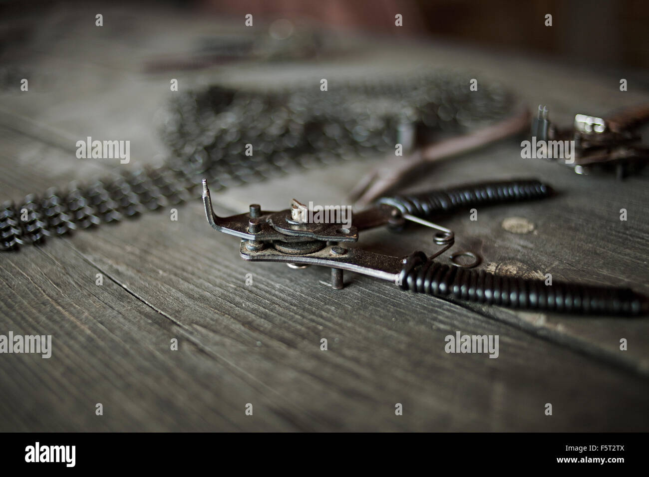 Sweden, Gotland, Hand tool on table - Stock Image