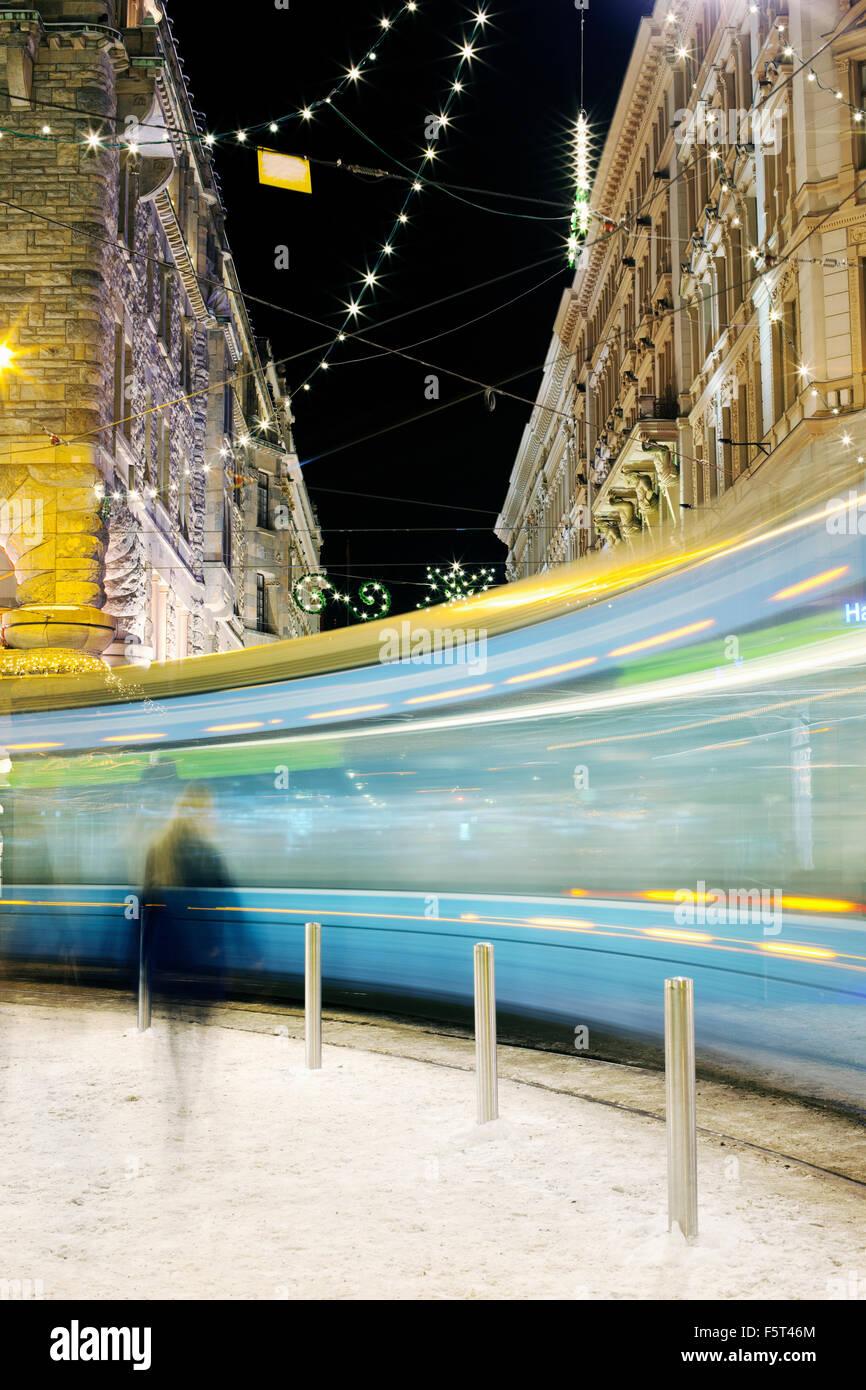Finland, Helsinki, Tram in street - Stock Image