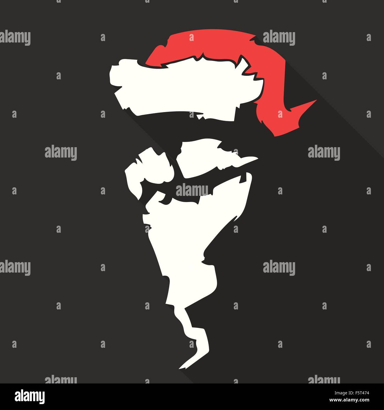 a1fc970fa2b Flat Design Vector Santa Claus Face with beard and hat. Icon. Greeting Card.