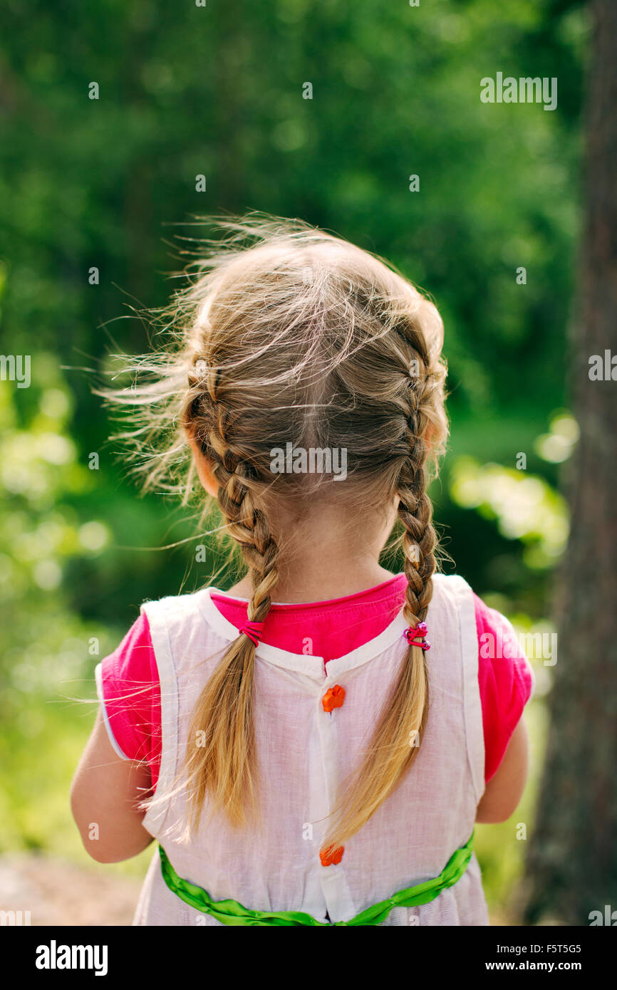 Finland, Paijat-Hame, Rear view of girl (2-3) with braided hair - Stock Image