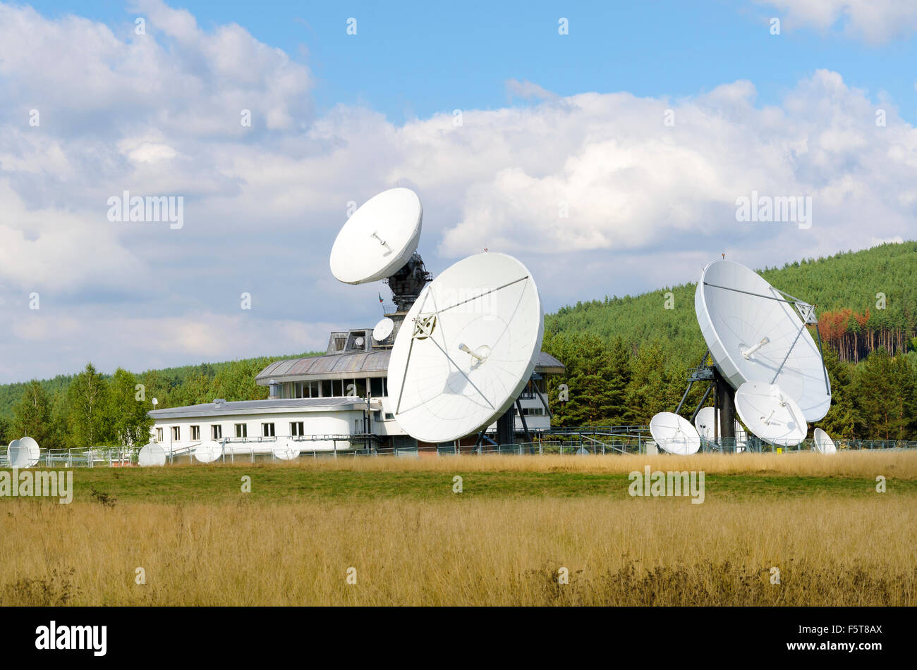 Satellite communication in the field - Stock Image